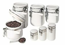 Oggi 7-Piece Ceramic Airtight Canister Set, White