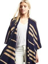NEW GAP Womens Stripe Poncho Cardigan Knit Sweater Navy Camel One Size $79 NWT