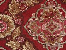 Rich SPICE RED Shades of Pink Gold Floral Home Decor Sewing Upholstery Fabric