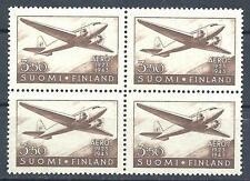 Finland 1943 Sc# C3 Airmail Douglas DC-2 Plane block 4 MNH
