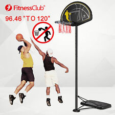 10Ft Height Adjustable Portable Basketball Hoop System 44 Inch Backboard w/Wheel