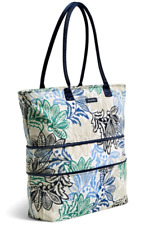 Vera Bradley Lighten Up Expandable TRAVEL TOTE Large Bag Santiago Blue/White $88