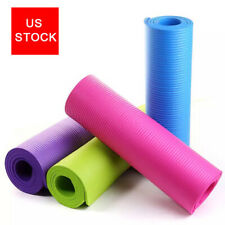 Yoga Mats 10mm Thick Home Exercise Gym Mat Non Slip With Carry Straps US STOCK