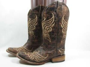 Circle G Embroidered Square Toe Cowboy Boot Women size 8 Brown Leather