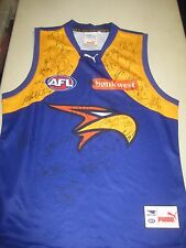 West Coast Eagles- team signed jersey (away) + COA & Photo Proof
