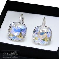 925 SILVER EARRINGS CRYSTALS FROM SWAROVSKI® 10/12MM FANCY STONE - MOONLIGHT