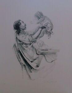 PIETRO ANNIGONI litografia MATERNITA' 63x48 firmata numerata pubblicata 1980