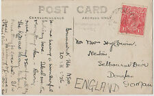Postcard 1926 Sunset Brunswick Heads Queensland with 1&1/2d red KGV to England