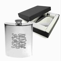 TUFF LUV Polished Pewter Flask + Giftbox - 4 Oz (Three Lions Football England)