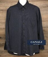 CANALI Men's Navy Blue Striped Long Sleeve Button Front Designer Italy Shirt L