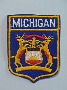 Vintage Michigan Patch State Crest Two Deer Bird Flocked Background Used 7835