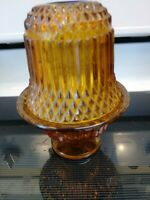 Vintage Indiana Glass Amber 2-piece Diamond Point Fairy Lamp Collectable