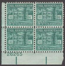 Scott # 1037 - Us Plate Block Of 4 - The Hermitage, Tn - Mnh - 1959