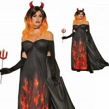 Adults Red Devil Demon Flames Fire Halloween Ladies Fancy Dress Costume