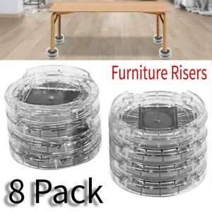 8pcs Plastic Multi-slot Furniture Leg Risers Non-slip Bed Riser for Table Desk