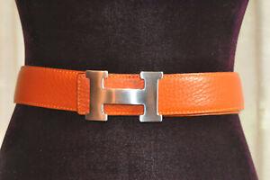 *Hermes*  Vintage Orange leather belt with brushed silver buckle 130cm