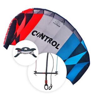 Flexifoil Cerf-volant d'entraînement au kitesurf 2.4m2 Control kite et Barre