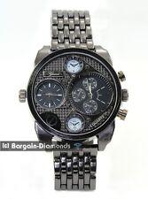 mens big 2 time zone gunmetal hip hop clubbing watch black dial link bracelet