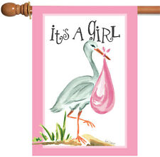 New Toland - It's a Girl - Cute Infant Birth Pink Stork Bird House Flag