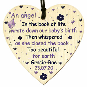 Personalised Baby Loss Memorial Bereavement Miscarriage Angel Wood Heart Plaque