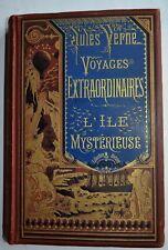 L'Ile Mystérieuse Reliure caramel à la bannière bleu HETZEL JULES VERNE