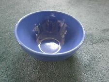 "Antique Country Banded Pottery Mixing Bowl 8.5"" 2 Quart Cobalt Blue"