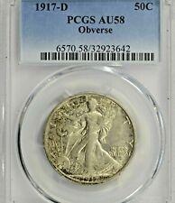 1917-D Obverse Mint Mark Walking Liberty Half Dollar : PCGS AU58