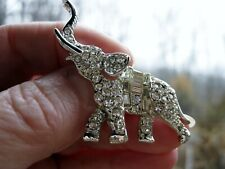 Beautiful Ice Clear Rhinestone Elephant Sparkling Vintage Brooch, for Good Luck!