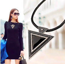 Large Black Triangle Statement Necklace with Rhinestones ~ Triangular Pendant