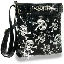 Sequined Skull   Designer Cross Body Hobo Black and white