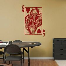"QUEEN of HEARTS Playing Card Poker Vinyl Wall Sticker Decal 22""w x 31""h"