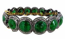 Latest Antique Finished 3.39ct Rose Cut Diamond Emerald Silver Bracelets Jewelry