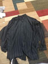 George Foreman 4XL TALL Long Sleeve Dress shirt Black Striped Button Down