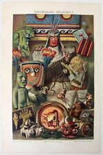 South American Native Artifacts - An Original 1905 Chromolithograph by Meyers.
