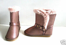 Girl's Pink Glitter Boots with Faux Fur Lining- UK Size 12- NEW