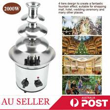 Chocolate Fondue Fountain Waterfall Melting Machine 4 Tiers Stainless Steel 220v