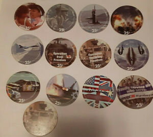 6th  Print Full Set of All 13,  25 Cent AAFES  Pogs 2005 printing  A.U.