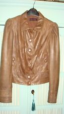 MISS SELFRIDGE TAN SOFT LEATHER VINTAGE STYLE JACKET SIZE 12 100% REAL LEATHER