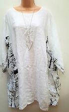 New Lagenlook White Black 100% Linen Tunic  Dress Top onesize uk 16 18 20 22