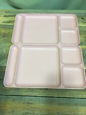Tupperware #1535 TRAYS (2) Pink Divided Stackable School Daycare Camping TV
