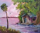 Florida Highwaymen Style Cracker Cabin on the Marsh by Rochelle McBride Art