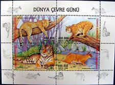 2002 TURKEY WILD CAT STAMPS SHEET PANTHER LYNX TIGER CARDCAL WILD ANIMAL STAMPS
