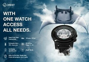 Crest CR-4 CR4 100 meters Scuba Diving Computer Watch Free Diving Rechargeable