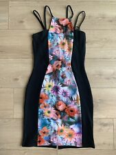 DIVA Black Floral Bodycon Fitted Dress Size 12