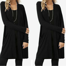 Women Long Sleeve Slouchy Cardigan Open Front Draped With Pockets Mid Length US