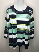 Alfred Dunner 2X Soft Navy Blue Green White 3/4 Sleeve Top