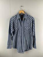 Plains Western Wear Mens Blue White Check Vintage Button Up Shirt Size Large