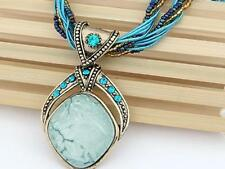 Multi Blue Bohemian style Pendant Multi Strand Glass Seed Bead And Cord Necklace
