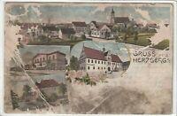 Ansichtskarte Herzberg - Niederlausitzer Bahnhof/Mühlgraben/Ortsansicht - 1904