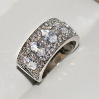 Vintage 925 Silver Moissanite Princess Zircon Rings Wedding Wholesale Size 6-10